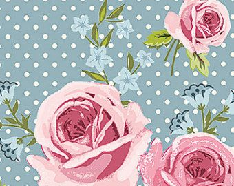 Gutermann Ring a Roses 'Rose Floral Fabric' in pink & blue