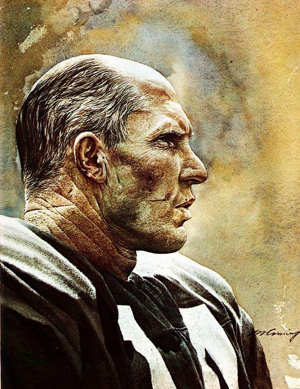 NY Giants Quarterback Y.A. Tittle by Merv Corning Pro Football Journal Presents: NFL Art