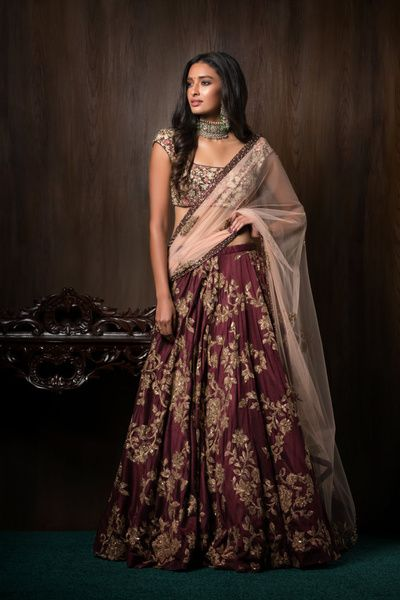 Sangeet Lehengas - Deep Wine Golden Embroidered Lehenga and Bluse with a Beige…