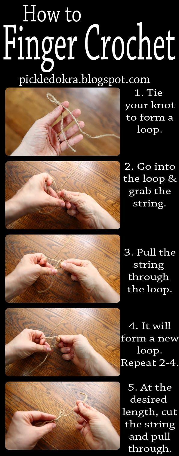 Pickled Okra:: How to Finger Crochet Jute (or anything else), a photo tutorial ༺✿ƬⱤღ  http://www.pinterest.com/teretegui/✿༻