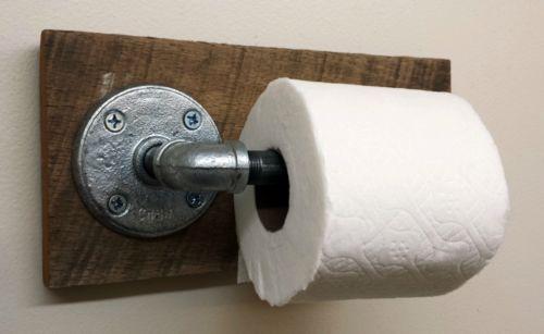 Rustic Bathroom Toliet Paper Holder Industrial Primitive Reclaimed Barn Wood