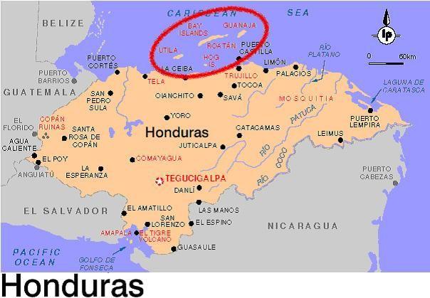 Map Of Honduras Bay Islands