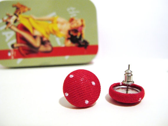 Red polka dots fabric covered button earrings