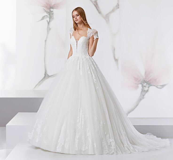 Princess dress with organza and beaded chantilly lace