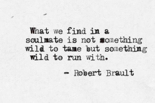 What we find in a soulmate is not something wild to tame but something wild to run with. Robert Brault.