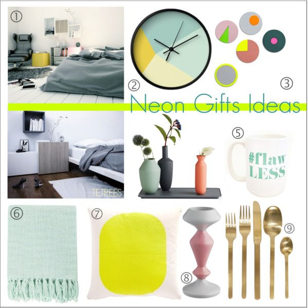"""""""Neon Design Gift Ideas"""" by tetrees on Polyvore #neon #colour #color #gift #idea #home #decor #accessories #tetrees"""