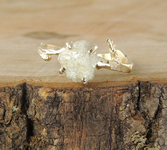 Rough Diamond Branch Engagement Ring, Handmade Diamond Engagment Ring by PointNoPointStudio on Etsy