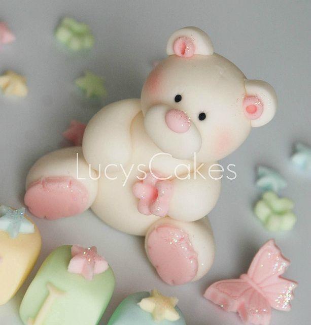 teddy bear cake topper christening or birthday by www.lucys-cakes.com, via Flickr