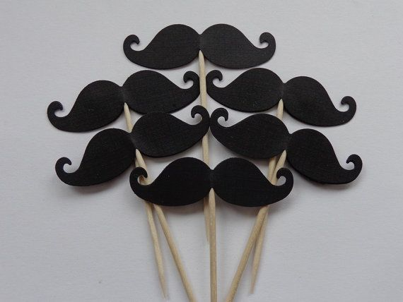 24 Black Mustache Food Picks - Cupcake Toppers - Party Picks