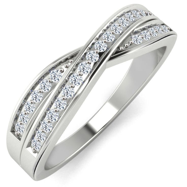 Round Diamond 10K White Gold Wedding Band Anniversary Women's Ring 0.12 ct #DesignCreation #Band