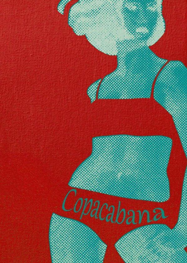 Gerald Laing in Copacabana - metal plate print @displate #red #girl #pop #style #fashion #retro #beatgirl #dancer #swimsuit #bikini #copacabana