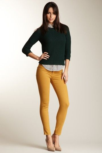 these golden rod pants are killer! I love them with this longer collared blouse under the chunky knit sweater.