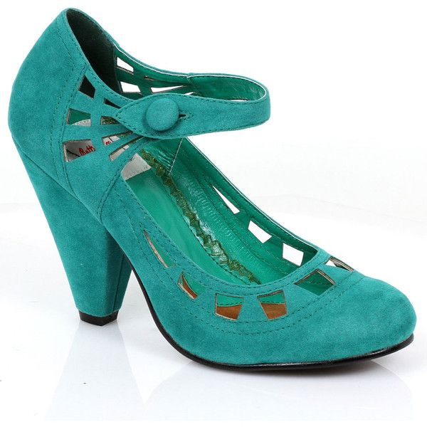 Retro Style Teal Microsuede Everly Pumps ($88) ❤ liked on Polyvore featuring shoes, pumps, vintage shoe, green, vintage pumps, vintage shoes, green shoes, high heeled footwear and green high heel shoes