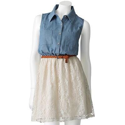 Eyelash Lace Sleeveless Dress - Juniors