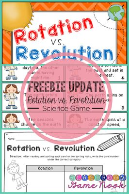 FREEBIE Science Game: Help your students practice identifying the earth's rotation vs. revolution! Easy-prep sorting game!