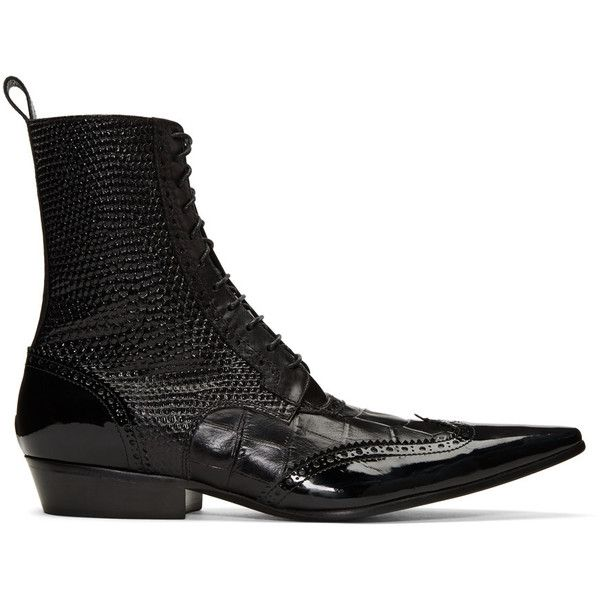 Haider Ackermann Black Brogue Boots ($1,375) ❤ liked on Polyvore featuring men's fashion, men's shoes, men's boots, black, black boots, black pointy toe boots, patent leather lace up boots, mid-calf lace up boots and brogue boots