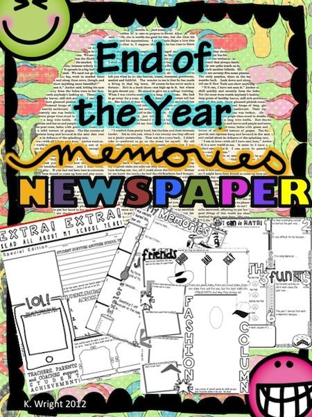 Grades 5-7 End of the Year Memory Newspaper. 7 Pages to pick and choose from. This is a upbeat way to learn from your students at the end of the school year. Students complete a newspaper template highlighting their year in your class and leave with a keepsake that summarizes their experiences. $