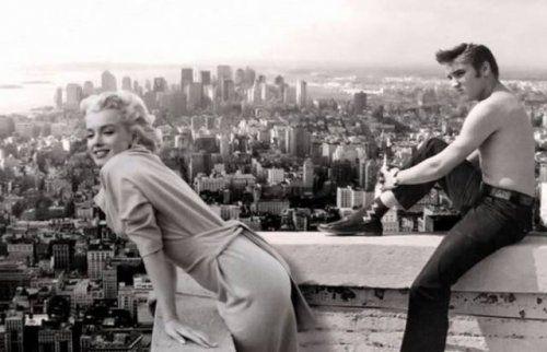 Старые фотографии знаменитостей Мэрилин Монро и Элвис Пресли