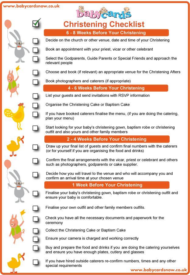 Christening Checklist