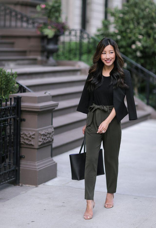 Summer Olive // Soft Jersey Drape Pants + Cropped Blazer | Extra Petite | Bloglovin'