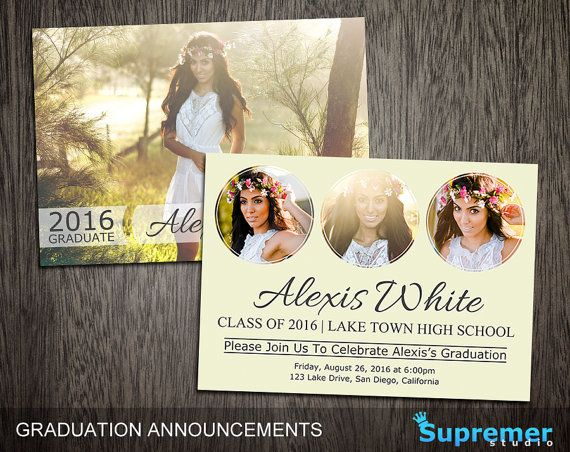 This graduation announcement templates are great for announcing a seniors graduation. Edit this template with Photoshop and send the graduation