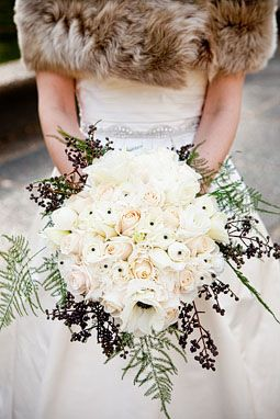 all white winter wedding bouquet Inspiration: Winter Wedding Flowers