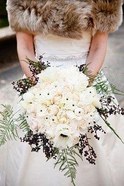 all white winter wedding bouquet Winter Wedding Flower Ideas