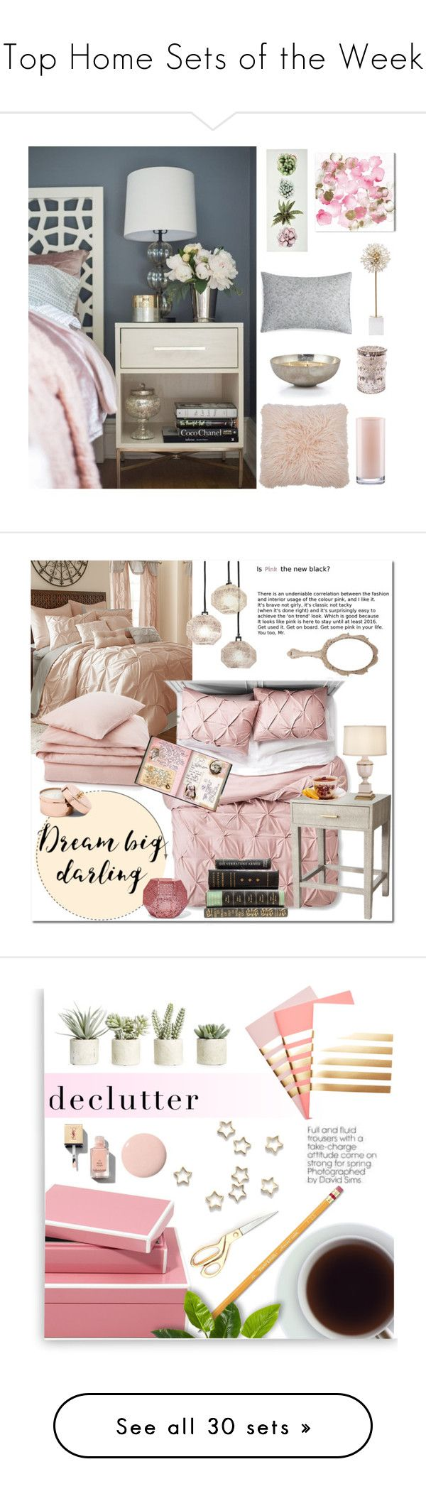 """""""Top Home Sets of the Week"""" by polyvore ❤ liked on Polyvore featuring interior, interiors, interior design, home, home decor, interior decorating, Oliver Gal Artist Co., M&Co, Kate Spade and Barbara Barry"""