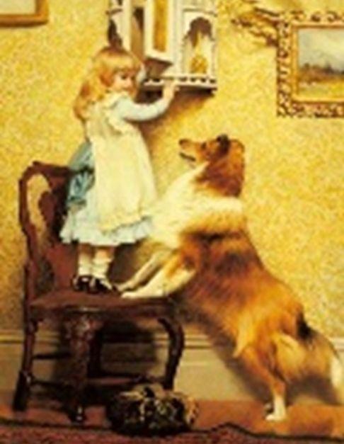 <어린소녀와 셜티(A Little Girl with Her Sheltie)>  찰스 버튼 바버 (Charles Burton Barber) 1845-1894 종류: 유화 제작년도: 1892 셜티는 셔트랜드산 양치기개를 뜻합니다. 어린소녀는 의자위에 올라가 발끝으로 조심스레 서있습니다, 셜티가  빤히 바라보는 것으로 보아 맛있는 간식을 꺼내는듯 합니다. 그림속의 소녀의 표정은 여유로워보이지만, 이를 바라보는 관람객의 표정은 조마조마합니다. 마음 졸이긴 셜티도 마찬가지 인가 봅니다, 혹시나 맛있는 걸 주지 않을까 하는 표정으로 간절히 소녀를 바라보며, 앞발까지 의자위에 올리고 서있습니다. 셜티의 몸에서 긴장감이 돕니다.  소녀는 그런 셜티를 장난끼 가득한 미소를 지으며 바라보고는 사랑스럽다는 듯이 쳐다봅니다. 이를 그린 화가 바버는 스포츠와 동물 화가로서 당시 많은 인기를 얻었습니다. 특히 동물의 심리 묘사에 충실한 그의 재능은 많은 사람들의 관심을 받았습니다.
