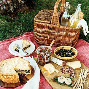 Italian Picnic...Sunset Magazine...Salami, olives, brushetta, tomatoes...almond cookies, melon and prosciutto...sparkling water.CHEESE, PESTO dips...