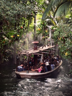 It's a special treat for a little boy to navigate the Jungle Cruise on his birthday.  Sweet memory.