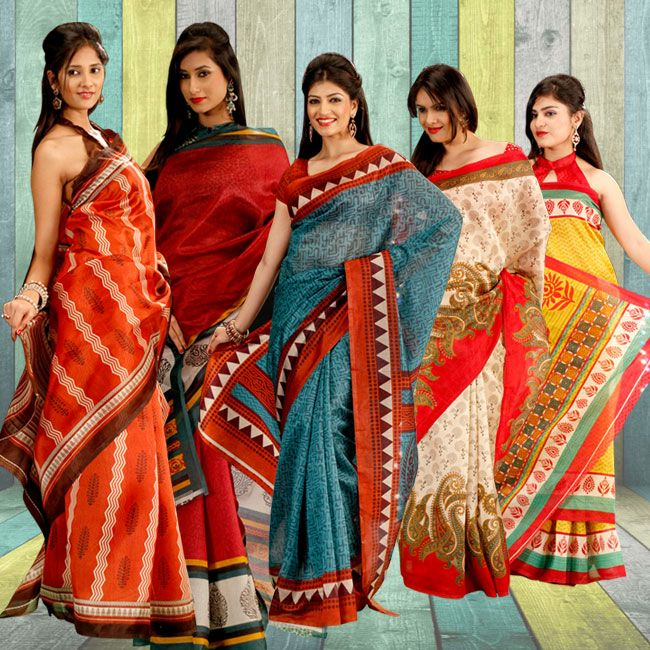 Five Matka Silk Saree Combo - Find your dream outfit to make your day and your family's day one to remember . Order Now @  09312100300