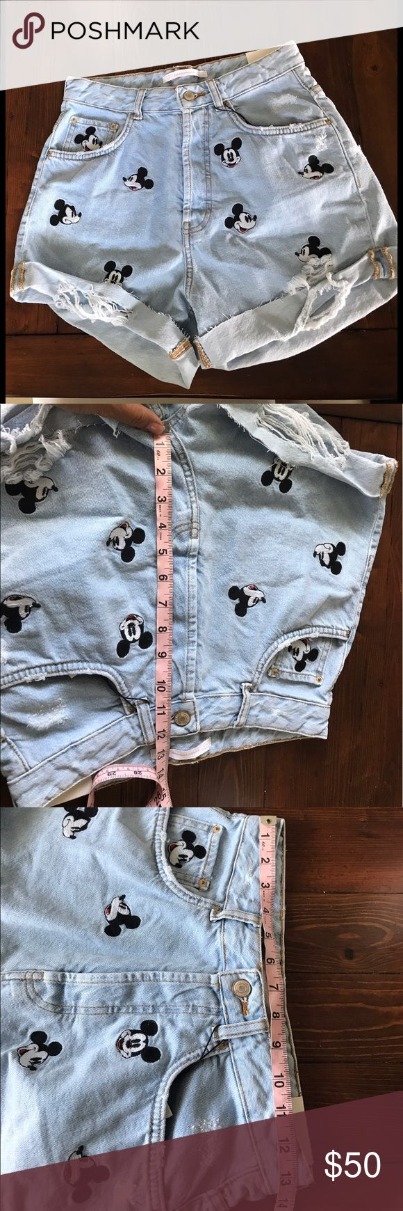 Mickey Disney Zara high waisted shorts size 4 Only tried on. I'm very sad I really want these to work. Seen all over Pinterest. Mom fit. My body doesn't suit it. Priced to get money back. Ask questions. Last picture is stock photo. Zara Shorts Jean Shorts
