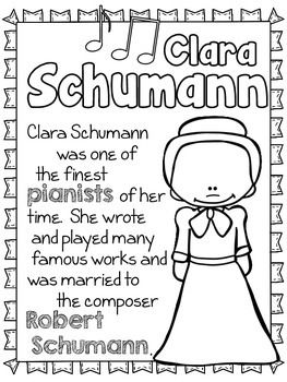 MORE ROMANTIC COMPOSERS COLORING AND FACT SHEETS - TeachersPayTeachers.com