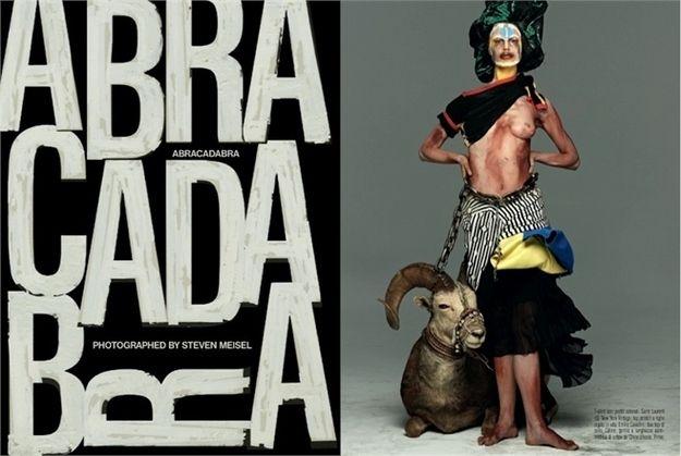 Redaktimi I brendshëm nga Steven Meisel, titulluar  Abrakadabra, portretizon  modelen e bardhe ne vizatime tribush të ndryshme.