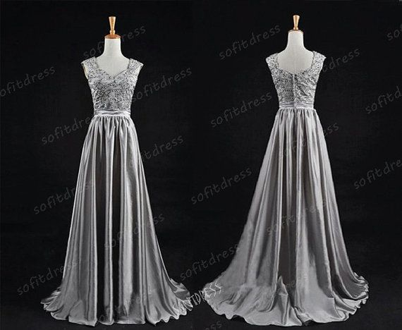 1950s prom dress silver prom dress long prom dress by sofitdress, $156.00