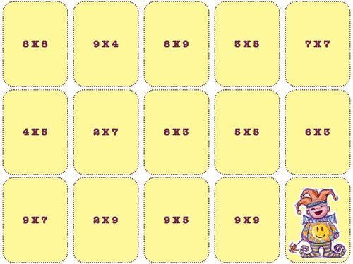 jeu de calcul-cartes des tables de multiplication