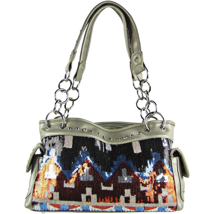 Tribal print work with a twist of silver sequence is surely an eye-catcher. Shop for this gorgeous tribal print #shoulder_bag at http://bit.ly/2qn1EwE