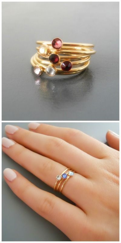 3 skinny gold birthstone rings with your choice of color.
