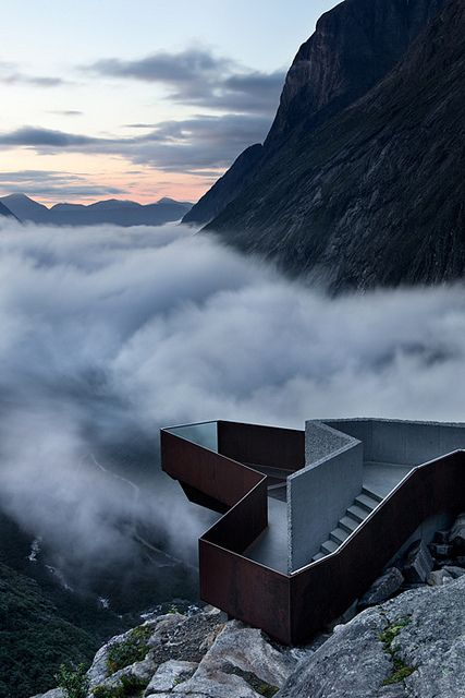 Trollstigen National Tourist Route viewing platform in Norway by ArchiTeam.