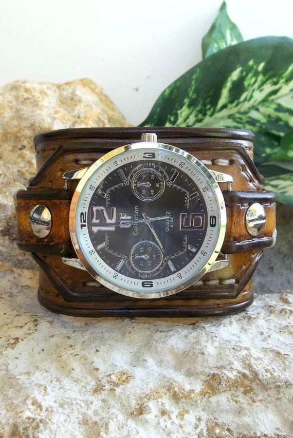 Mens Watch cuff Leather wrist watch men's by CuckooNestArtStudio, $96.00