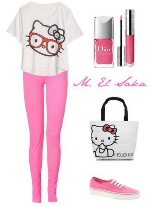Hello kitty outfit, I love it.