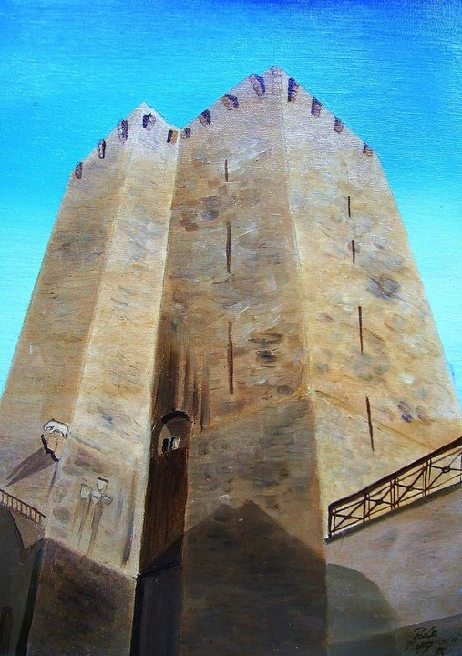 """The elephant on the tower   oil on canvas panel 25""""x35"""""""