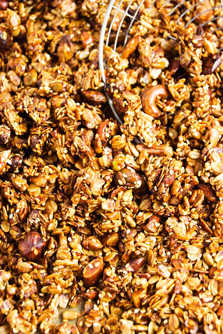 Crunchy honey-thyme granola with pistachios