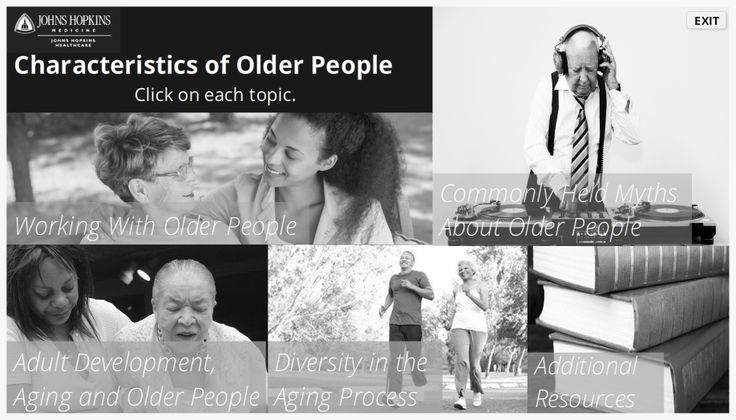 Landing page and menu for Characteristics of Older People course - Designed for staff working with Medicare patients.