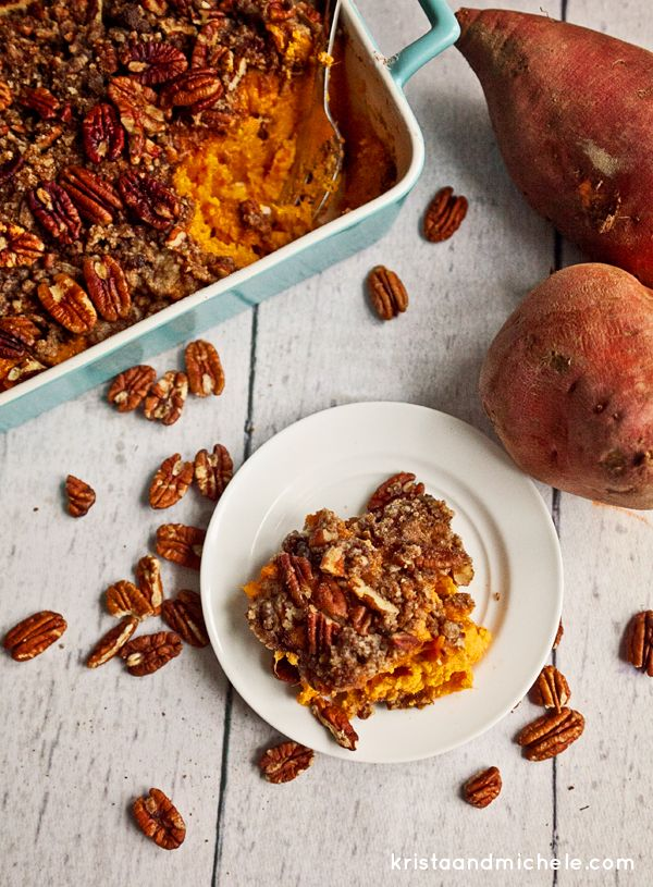 Mama's Thanksgiving Yams. Yams or sweet potatoes covered with a crunchy pecan topping. Recipe @ kristaandmichele.com