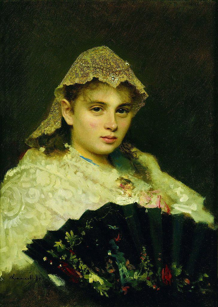 Ivan Nikolaevich Kramskoi (1837 –  1887) Portrait Of Olga Afanasiyevna Raftopulo, 1884, oil on canvas, Tretyakov Gallery