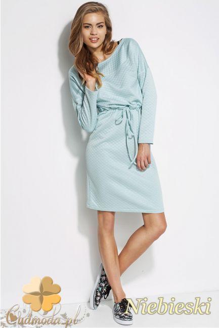 Kobieca sukienka pikowana z dopasowaną górą marki Alore.  #cudmoda #moda #styl #ubrania #odzież #sukienki #dresses