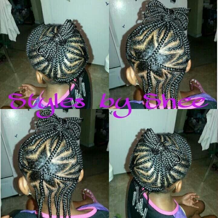 Unique star cornrow design on natural hair | Natural Kids ...