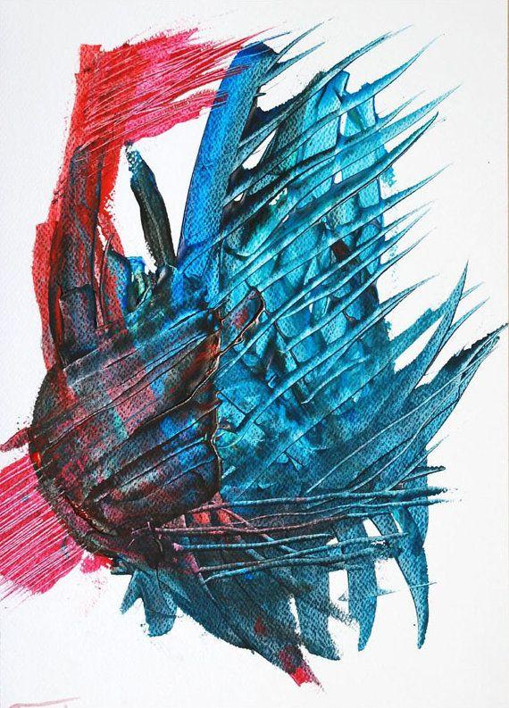 Abstract modern original mixed media painting, handmade artwork, decorative design, home decor,